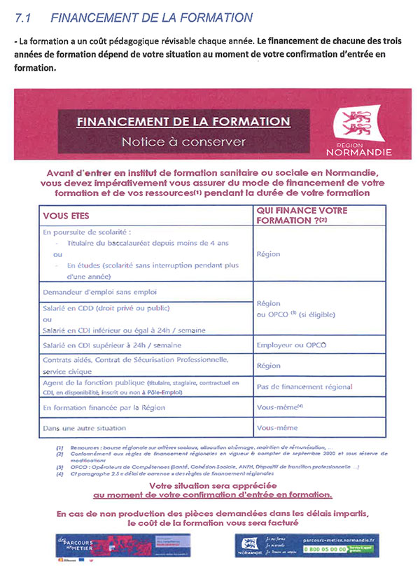 Financement formation IFPS Lisieux