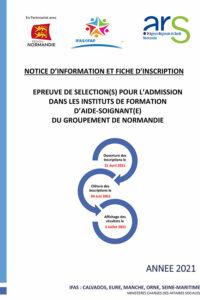 Notice d'information et fiche d'inscription pour l'admission dans les instituts de formation d'aide-soignant(e) du groupement de normandie
