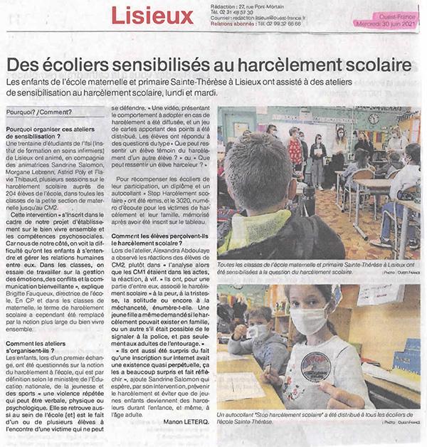 Des écoliers sensibilisés au harcèlement scolaire par des étudiants de l'IFPS Lisieux - Ouest-France