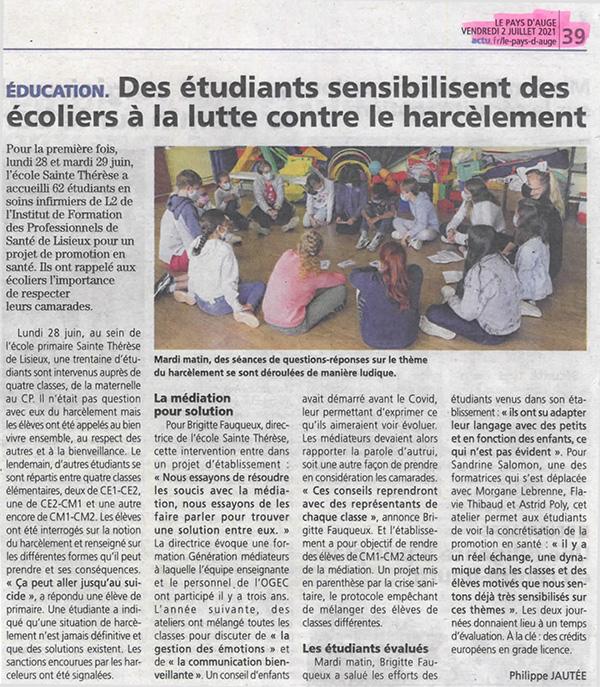 Des écoliers sensibilisés au harcèlement scolaire par des étudiants de l'IFPS Lisieux - Le Pays d'Auge